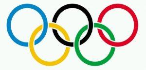 Simbolo Olimpico: Com cinco anéis entrelaçados no centro: azul, amarelo, preto, verde e vermelho; que representam os cinco continentes habitados do mundo!
