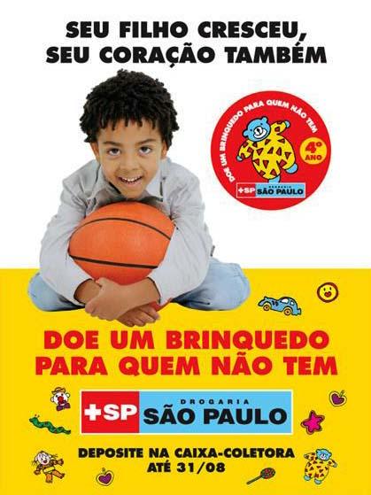 campanha doe brinquedo drograria sp - Doe um brinquedo para quem não tem - Campanha da Drogaria São Paulo