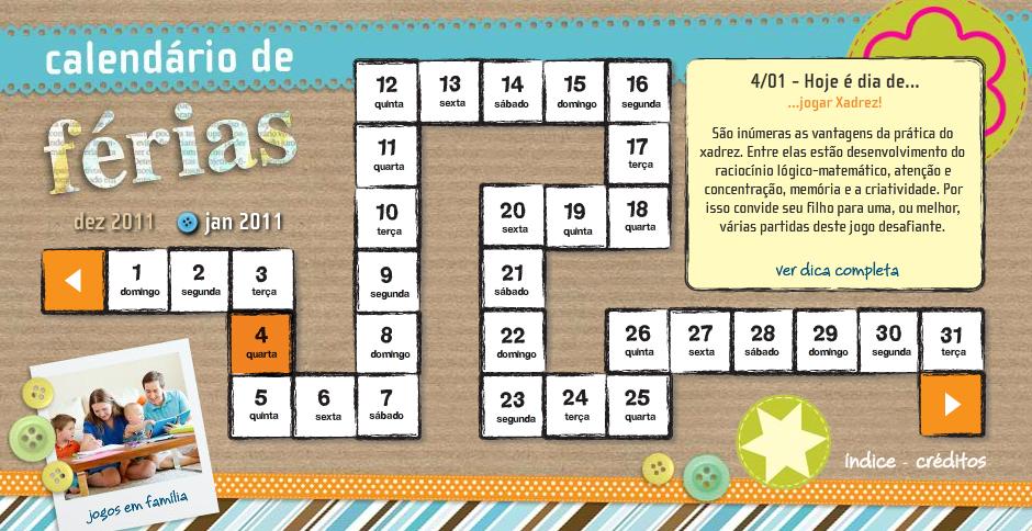 calendario de ferias crescer - Calendário de Férias para Crianças