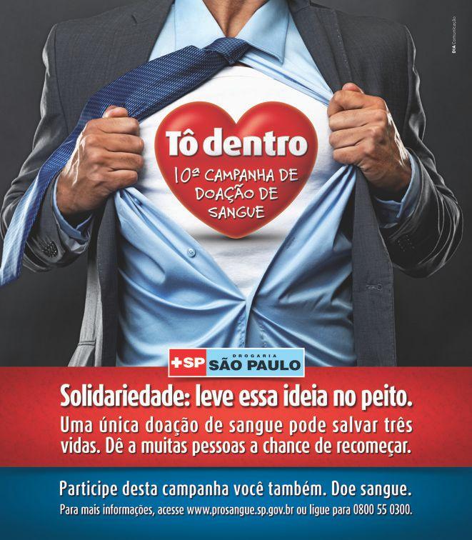 10 campanha doacao sangue to dentro solidariedade - 10ª Campanha de Doação de Sangue - Tô Dentro
