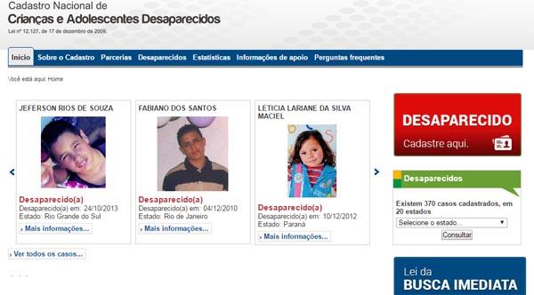 cadastro nacional de criancas desaparecidas - Crianças e Adolescentes desaparecidos
