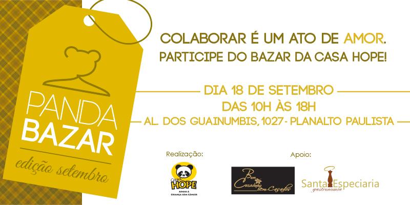 "bazar panda solidariedade - CASA HOPE promove ""PANDA BAZAR"""