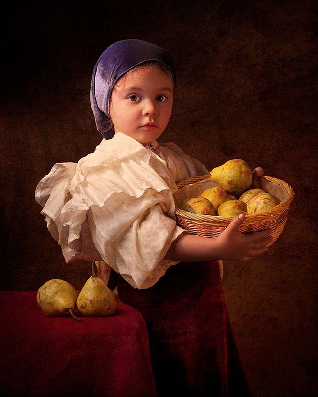 obra de arte retrato de epoca - Menina participa de releituras de grandes obras de arte