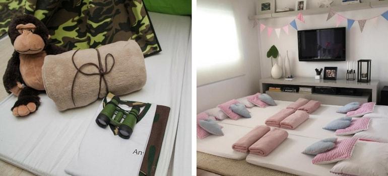 cobertas e almofadas festa do pijama