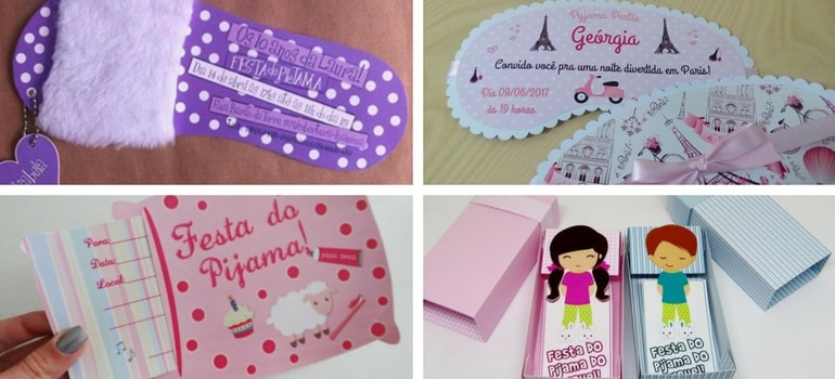 convites elementos temáticos - Convites para Festa do Pijama: 12 modelos criativos