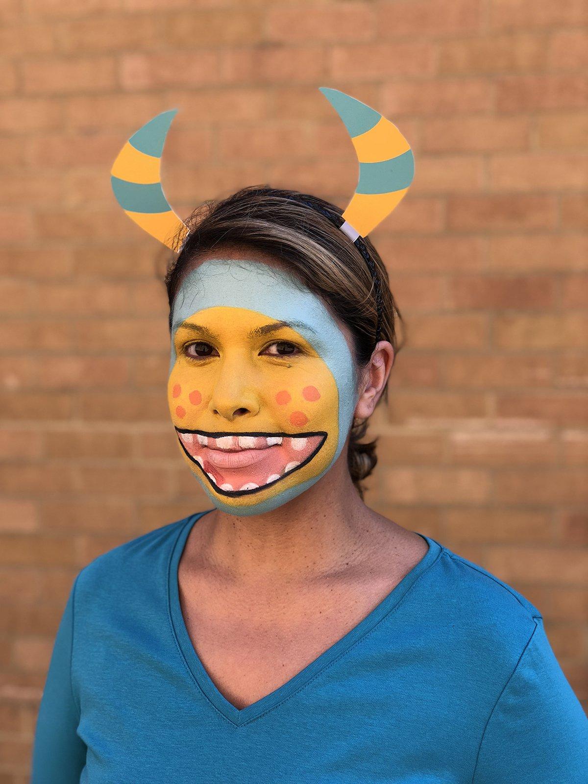 pintura facial halloween monstro5 - Pintura de rosto de Halloween - Monstro