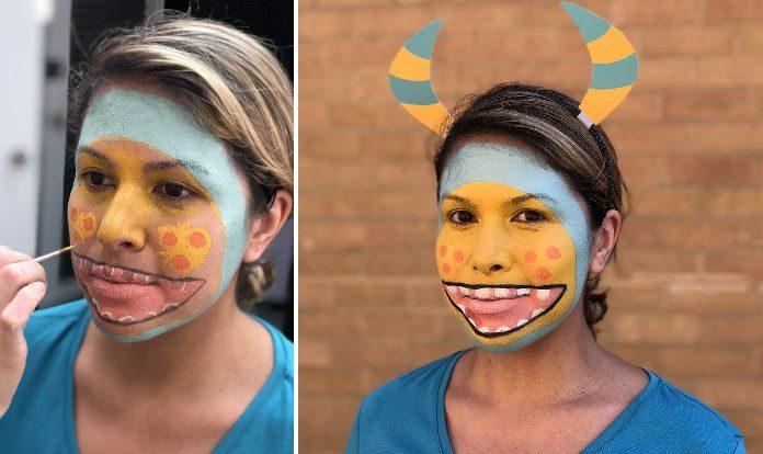 pintura facial monstro halloween